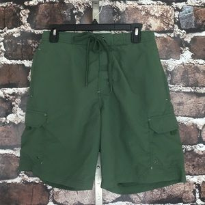 Lands' End Board Shorts Green Pockets Medium